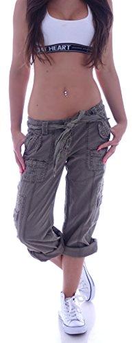 Damen Leinen Cargohose Stoffhose Capri Cargo Hose Hüfthose Jeans S 36 M 38 L 40 XL 42 (L 40, Khaki) (Leinen Khaki Hose)