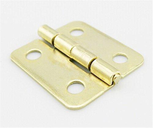 BGNing 2Pcs 1.7 * 1.8cm Imitation Cuivre Petit pliant Charnière avec 4 trous Mini bricolage bois Modèle en métal Artisanat Fixture