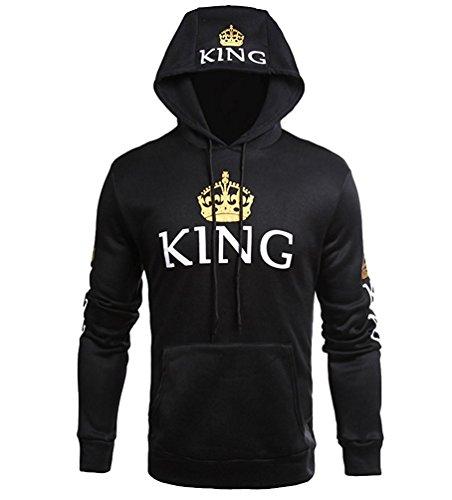 Tomwell Hombre Y Mujer Moda King Queen Impresión Sudaderas con Capucha Manga Larga Pullover Camisas Jersey Hoodies Parejas Tops A King EU XL