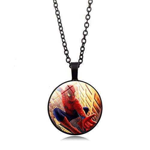 YinXX Spiderman Halskette Arc Reactor Glas Cabochon Anhänger Halskette Silber überzogene Schmuckleuchtende Halskette ()