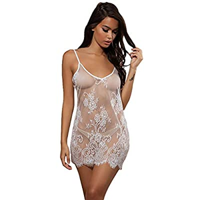 Hanomes Sexy Dessous,Dessous Damen Sexy Unterwäsche Babydoll Nachtwäsche Spitzenkleid Rückenfrei Mesh Perspektive Lace Kleid