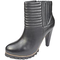 SPM Damen Leder Stiefelette 17686116-000 black High Heels Pumps (38, black)