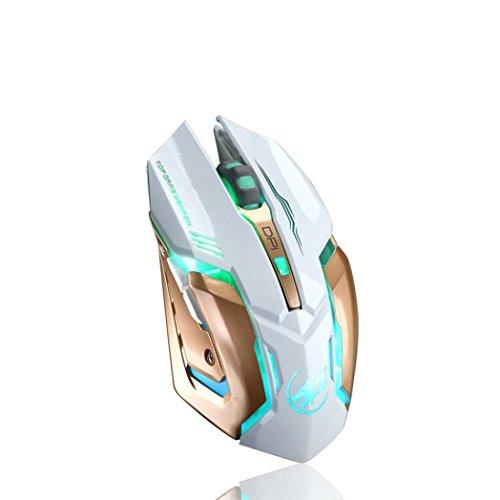 Bescita Wiederaufladbare Wireless Silent LED Hintergrundbeleuchtung USB Optisch Ergonomisch Gaming Maus mit USB Nano Empfänger für PC Laptop iMac MacBook Microsoft Pro, Office Home (Weiß2)