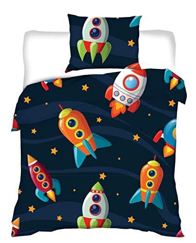 Aminata Kids - Kinder-Bettwäsche 100-x-135 cm Baby-Bettwäsche Weltraum-Motiv Weltall Astronaut Universum Planet-en 100-{83a082f423a480f279c7cdee9544c9df9ab21ae51bfc4451568b4b9403a50277} Baumwolle blau