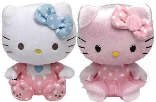 Ty Beanie Babies Hello Kitty Rosa Baby mit Rassel und Rosa Schimmer-Set mit 2 Plüsch-Spielwaren - Pink Baby with Rattle and Pink Shimmer Set of 2 Plush Toys (Puppe Spielzeug Plüsch Kitty Hello)