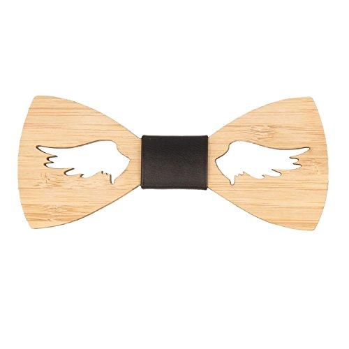 Lelio & friends Designer Holzfliege, handgearbeitet, Naturholz. Ob lässig zur Party, zu Karneval oder als besonderes Accessoire zur Berufsbekleidung, ein extravaganter Hingucker (Wing Cut)