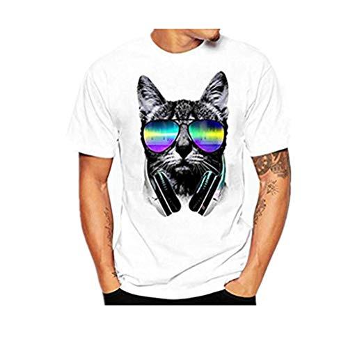 UBabamama Herren T-Shirt mit Glashund Bedrucktem Unterhemd, kurzärmelig, Baumwolle Mehrfarbig weiß L - Herren Bubble Vest