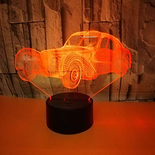 3D-Lampen, 7 Farben, Touch- / Fernbedienungsschalter, Geburtstagsgeschenk, Baby-Licht, USB-Kabel und AA-Batterie, Oldtimer -