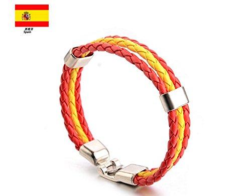 Newin Star - Pulseras,Brazalete de Cuero,Pulseras Bandera de Nacional,Pulseras Cuero para Hombre y Mujer el Día Nacinal España (España)