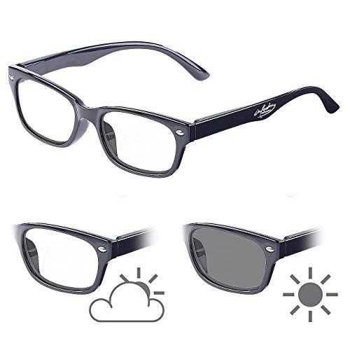 infactory Brille mit Tönung: Selbsttönende Lesebrille mit UV-Schutz 400, 2,5 Dioptrien (Sonnen-Lesebrille)