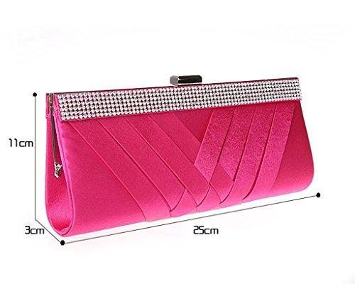 Damen Plissee Abend Taschen Hochzeit Geldbörse Party Kupplung, Beige - Aprikose - Größe: Hot Pink