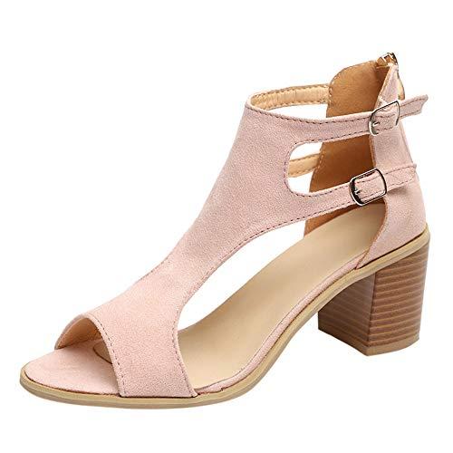 Fenverk Damen Spitz Riemchensandalen Slingback Heel Kleid Pumps Stilett Spikes Straps Sandalen Elegante Riemchen Abend Sandaletten High Heels Stilettos Schuhe(Pink 2,41 EU)