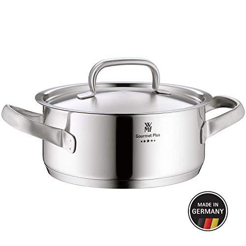 WMF Gourmet Plus Kochtopf mit Metalldeckel 24 cm, Bratentopf 4,1l, Cromargan Edelstahl mattiert, Innenskalierung, Dampföffnung, induktionsgeeignet