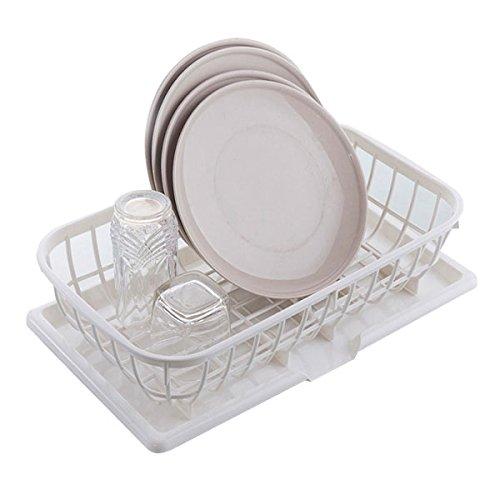 pratique Cuisine Bowl plateau Égoutter rack double couche plastique Rayonnages Vaisselle Vaisselle rack de lavage Vidange Le panier pratique (couleur : Blanc)