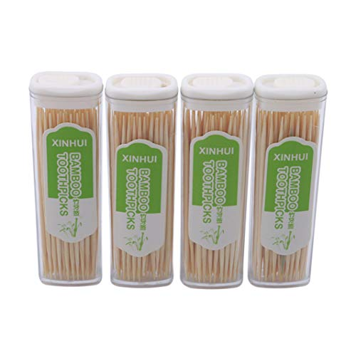 YouCY Zahnstocher/Zahnstocher in Feuerzeug-Form, tragbar, Bambus-Zahnstocher, Einweg-Zahnstocher, 4 Stück Hors Doeuvre-set