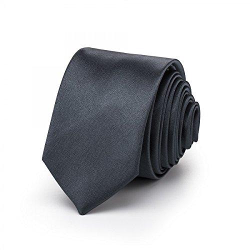 Rusty Bob - Krawatte schmal/dünn 3cm-5cm für Herren [auch für Kinder/Jungen] (uni,nicht gestreift) aus Polyester glänzt wie Seide - Anthrazit