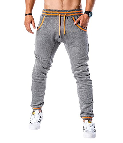 Betterstylz Logan Trainingshose Sweatpants Jogger Fitness, Jogginghose 5 Farben ( S, M, L, XL, XXL) (M, Dunkel Grau Orange) (Shorts New Classic Balance)