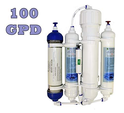 Finerfilters osmosi inversa filtro, 4Livelli, compatto, dotato di resina, per acquari tropicali e acqua di mare e discus Pesce, 50/75/100GPD