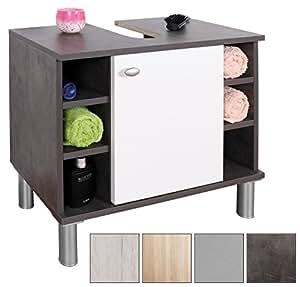 ricoo waschbeckenunterschrank klein 60 cm breit unterschrank badezimmer wm100 g w. Black Bedroom Furniture Sets. Home Design Ideas