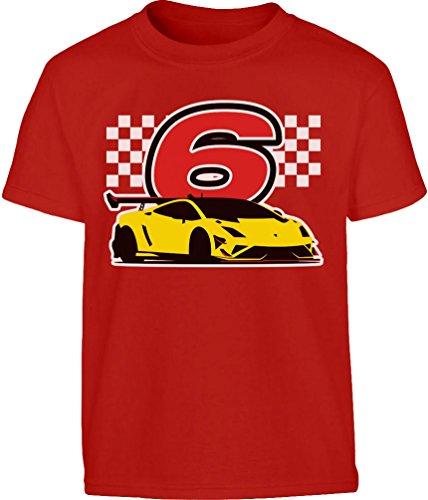 Motor Kleinkind T-shirt (Geschenk für Jungs 6 Geburtstag mit Auto Kleinkind Kinder T-Shirt - Gr. 86-128 116/128 (5-7J) Rot)