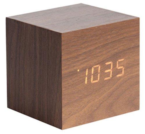 Karlsson KA5655DW - Wecker - Mini Cube - Holzfurnier - LED - 8x8cm