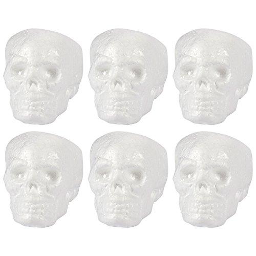 Schaumstoff Totenkopf Modelle Bulk–6Pack Polystyrol Totenschädel aus Schaumstoff Modell für Kunst und Handwerk Gebrauch–DIY Ornaments für Día de los Muertos, und Halloween, Weiß, 8,9x 10,4x 9,9cm
