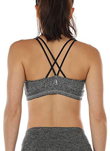 icyzone Sport-BH Damen Yoga BH mit Polstern - Kreuz Rücken Sport Bustier Jogging Fitness BH Top (XXL, Charcoal)
