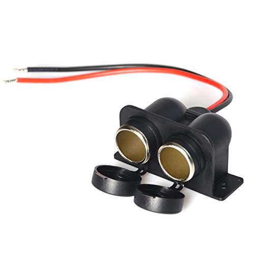 Socket Wire (Dual hole car cigarette lighter socket motorcycle Enisina cigarette lighter female seat 12V-24V power socket with wire)
