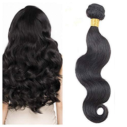 Ugeat Tressen Echthaar Gewellt Haare Weft Weaving Extensions 26 Zoll 1b# Naturliche Schwarz