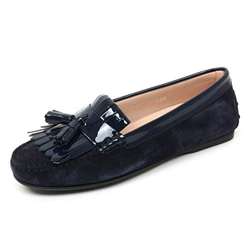 B9582 mocassino donna TOD'S scarpa frangia nappine blu scuro loafer shoe woman Blu scuro