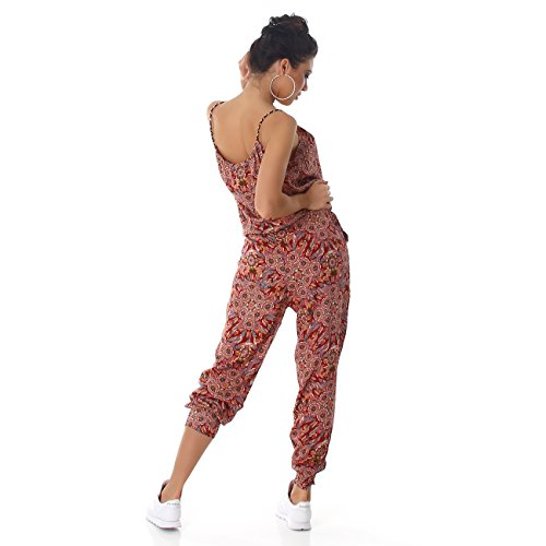 Jela London Damen Jumpsuit Overall Hosenanzug Einteiler Gemustert Einheitsgröße (36 - 40) Rot 001