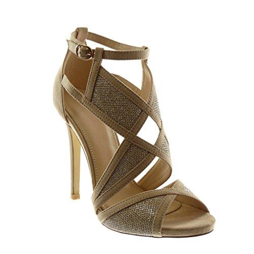 Angkorly - Scarpe Moda Sandali Decollete con Tacco Stiletto Peep-Toe con Cinturino alla Caviglia Donna Bicolore Tanga Tacco Stiletto Alto 11.5 CM - Beige 628-175 T 39
