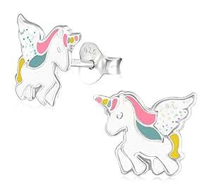 Laimons-Orecchini da bambina e bambino, unicorno rosa, bianco, brillanti, in argento Sterling 925