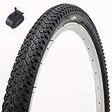 Fincci MTB Mountain Hybrid Bike Fahrrad Reifen 26 x 2.125 57-559 und Autoventil Schläuche 48mm