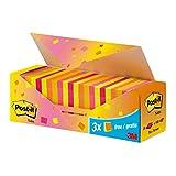 Post-it 654NP24Sticky Notes et, 24Pads (Boîte de 100feuilles, 76x 76mm Néon Orange/jaune/Rose/mandarinenorange