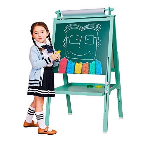 3 in 1 Holz Kind Staffelei, doppelseitige magnetische Reißbrett, Whiteboard & Tafel Tafel Staffelei mit Zeichnungsachse & Papierrolle, Bonus Magnetics, Zahlen, Paint Cups zum Schreiben (grün)