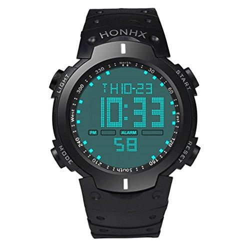 Yogogo Herren Quartz Analog Armband , 1 Cent Artikel LCD Digital Armbanduhr | Gummiband | Dekoration | Sportuhr | Geschenk | Alugehäuse | Wasserdicht | Quarzwerk | 20cm Bandlänge (Weiß)