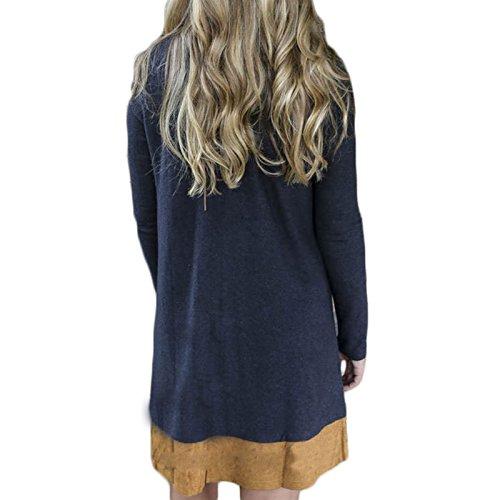 Frauen Mode Kurzarm Rundkragen Hit Der Farbe Spleiß Loose Beiläufige Kleid Partykleid Minikleid Freizeitkleid Faltenrock Beachwear Dunkelblau