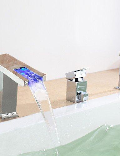 KISSRAIN® Grifo de la bañera - contemporáneo - LED / Cascada / rociador - Latón (Chrome)