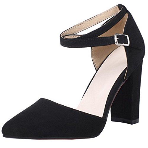 COOLCEPT Damen Mode Kreuz Sandalen Blockabsatz Geschlossene Schuhe Schwarz