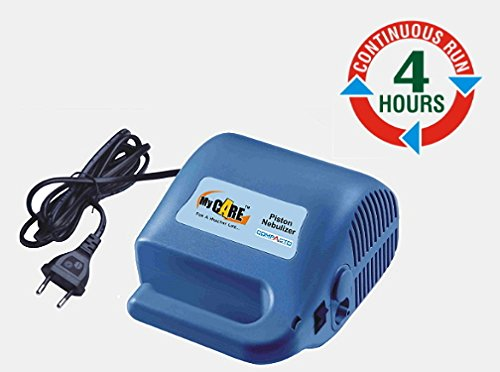 Mycare Compacto Durable Compressor Piston Nebulizer Runs 4 Hours With 1 Yr Replacement Warranty