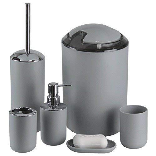 Gmmh set di 6 accessori da bagno, con dispenser per sapone, portasapone e scopino per wc. grau design 3