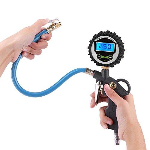 Reifendruckfüller mit Manometer, multifunktional, 0-220 PSI 0-16 bar, hohe Genauigkeit, digitales LCD-Display, Auto-Reifen-Luftdruckmessgerät und Reifenfüller mit flexiblem Schlauch