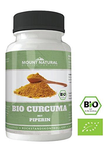 BIO Curcuma Kapseln, 2400 mg Tagesdosis, 180 Stück + Bio Piperin, laborgeprueft, hochdosiert + Curcumin + Schwarzer Pfeffer, vegan, reine Natur ohne Zusatzstoffe wie Magnesiumsalze