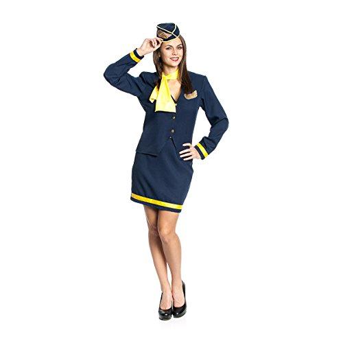 Kostümplanet® Stewardess-Kostüm Damen Flugbegleiterin Kostüm mit Kappe und Halstuch Größe 46 (Uniform Stewardess)
