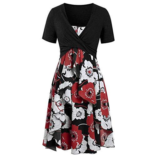 rkleider Set Mode Kurzarm Bogen Knoten Verband Top Sunflower Print Minikleid Anzüge(Black2,EU-38/L) ()