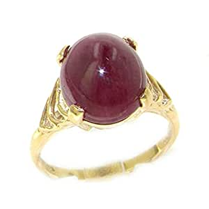 Luxury 9ct Yellow Gold Large Cabouchan Ruby Solitaire English Ring - Size K