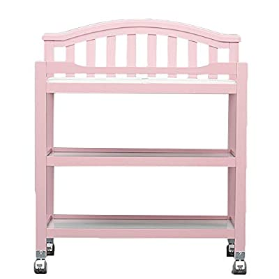 Children 5-in-1 Changing Table and Storage Unit, Baby Diaper Table with Casters,Pink,Wooden, Supports Up to 50kg