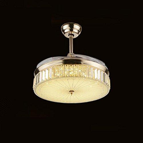 Stealth Deckenventilator Light Fan Light Esszimmer Wohnzimmer Home mit Deckenventilator Kristall Fan Kronleuchter reines Kupfer Dämpfer Motor Garantie für zehn Jahren Premium helles Kristall Licht, 106,7cm Deckenventilatoren mit Lampe Remote Control