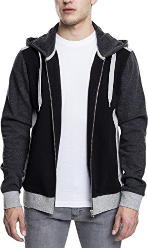 Urban Classics Herren 3-Tone Sweat Zip Hoodie, Streetwear Kapuzenjacke, dreifarbiger Pullover mit Reißverschluss, Känguru-Tasche und Kapuze mit Tunnelzug - black/grey/charcoal, Größe L (Zip Front Hooded Sweatshirt Shirt)